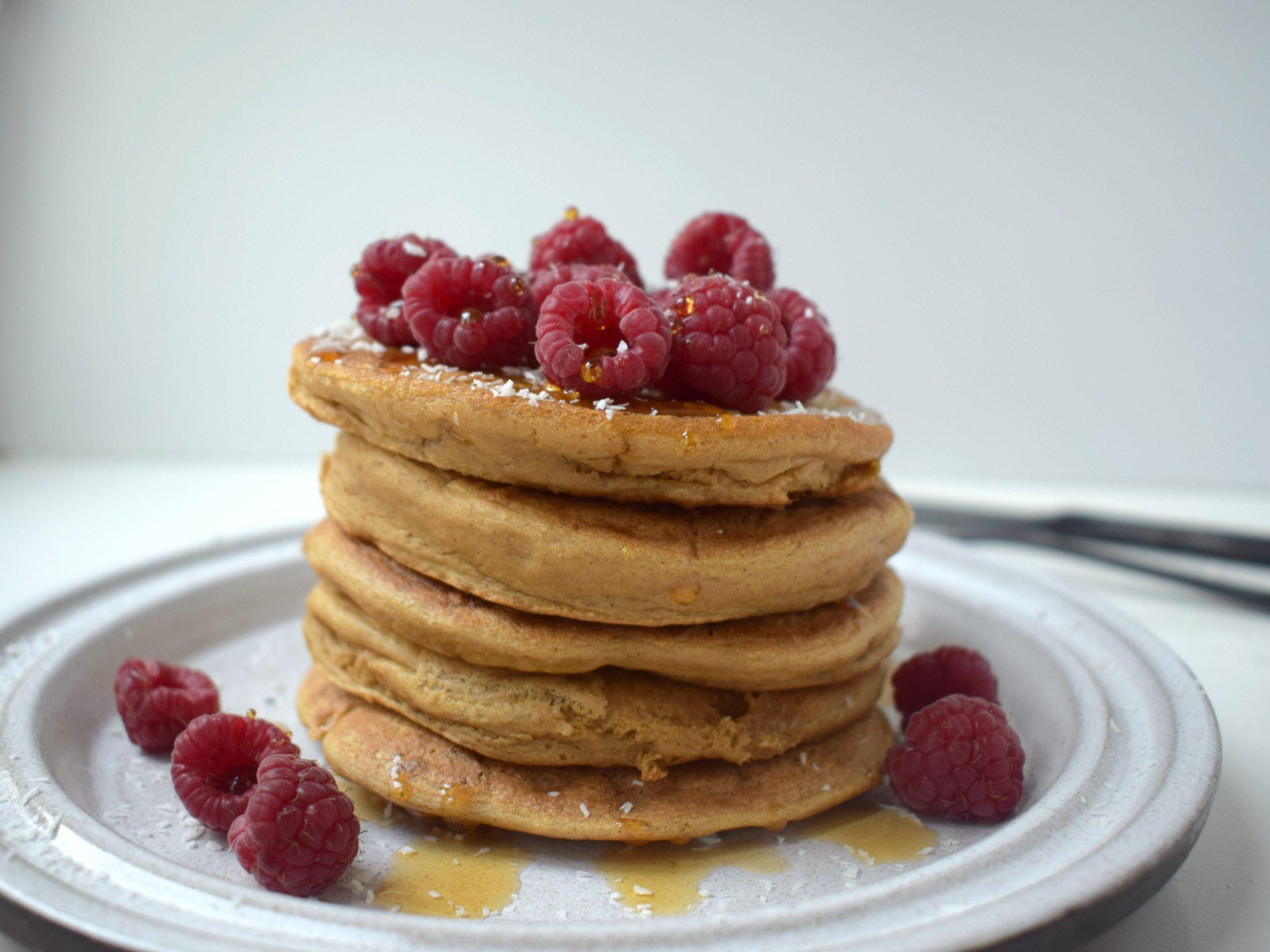 Fluffy vegan American protein pancakes