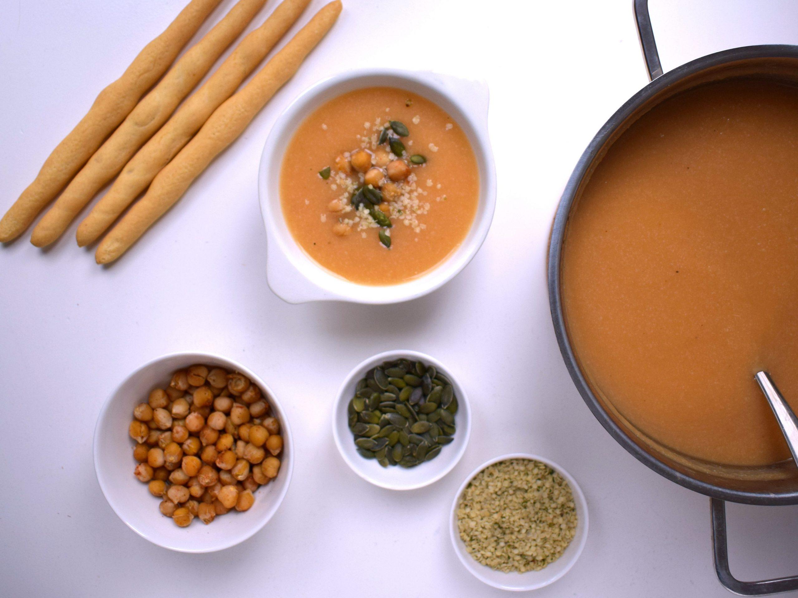 Zoete aardappel pompoen soep