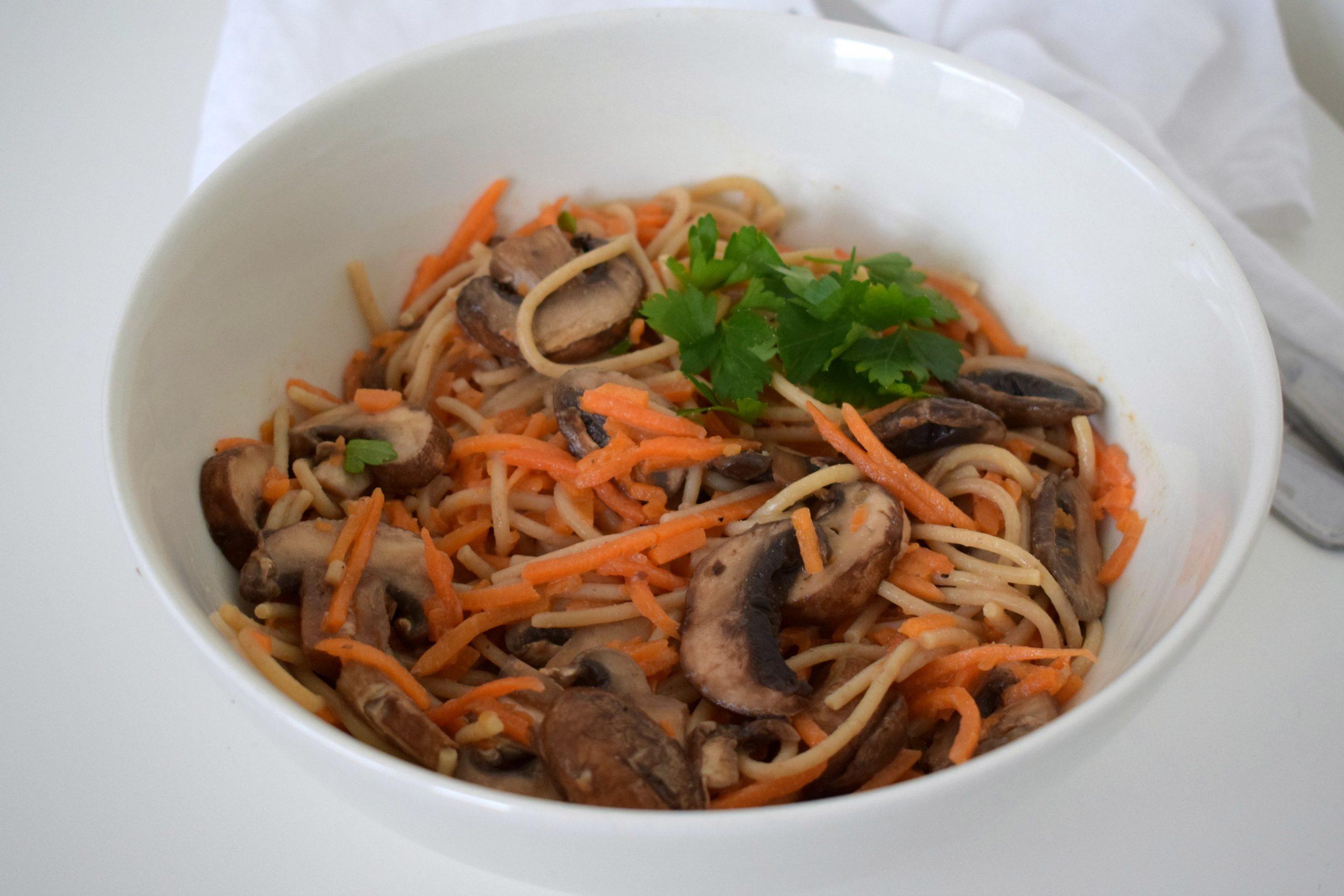 Vegan pasta funghi (met pompoen)