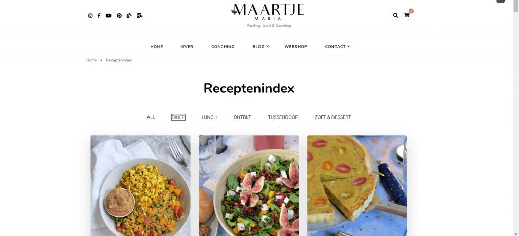 volledig vernieuwde receptenindex maartjemaria
