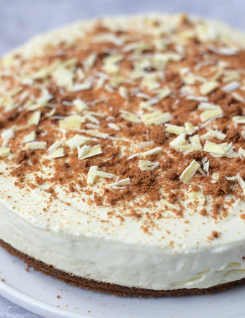 vegan witte chocolade cheesecake met speculaas