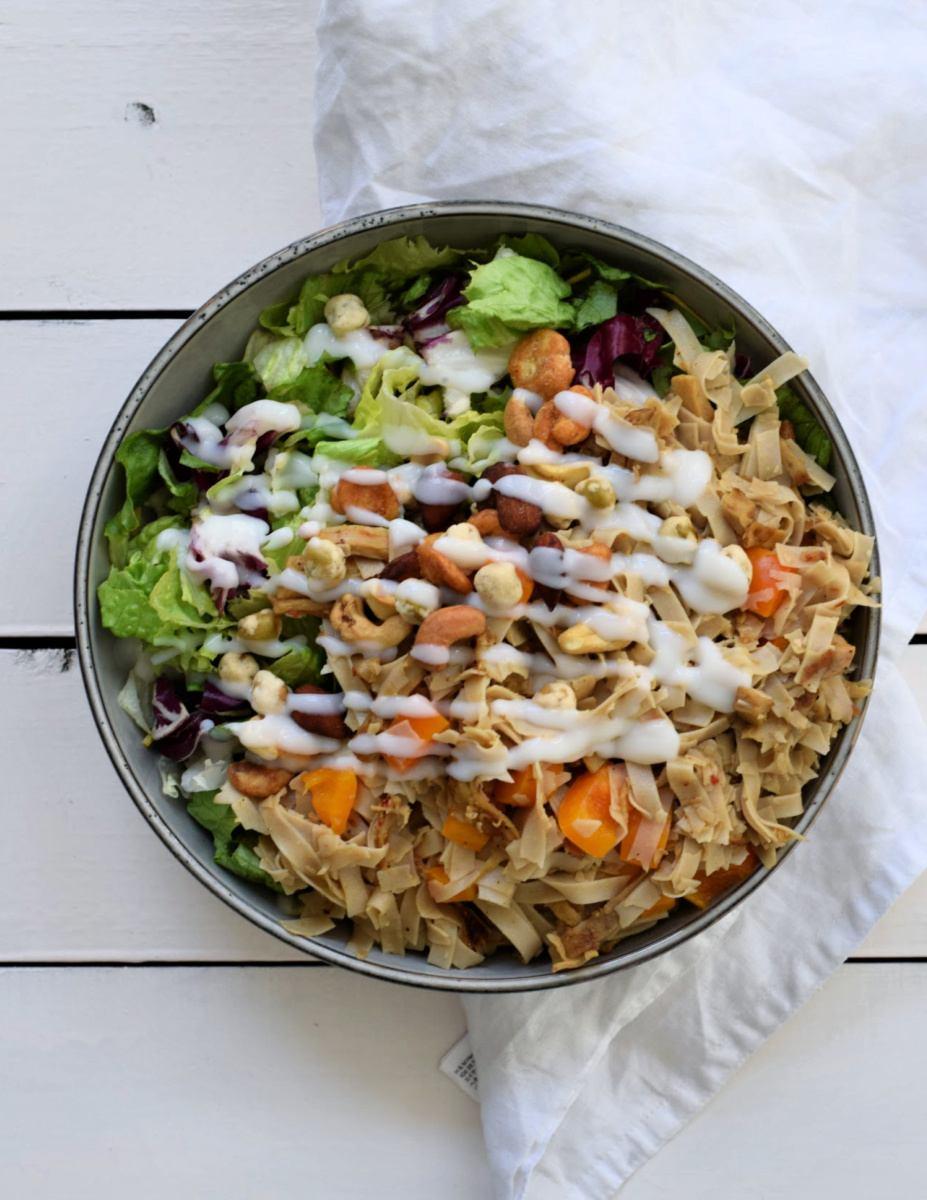 Vegan shoarma noedel salade
