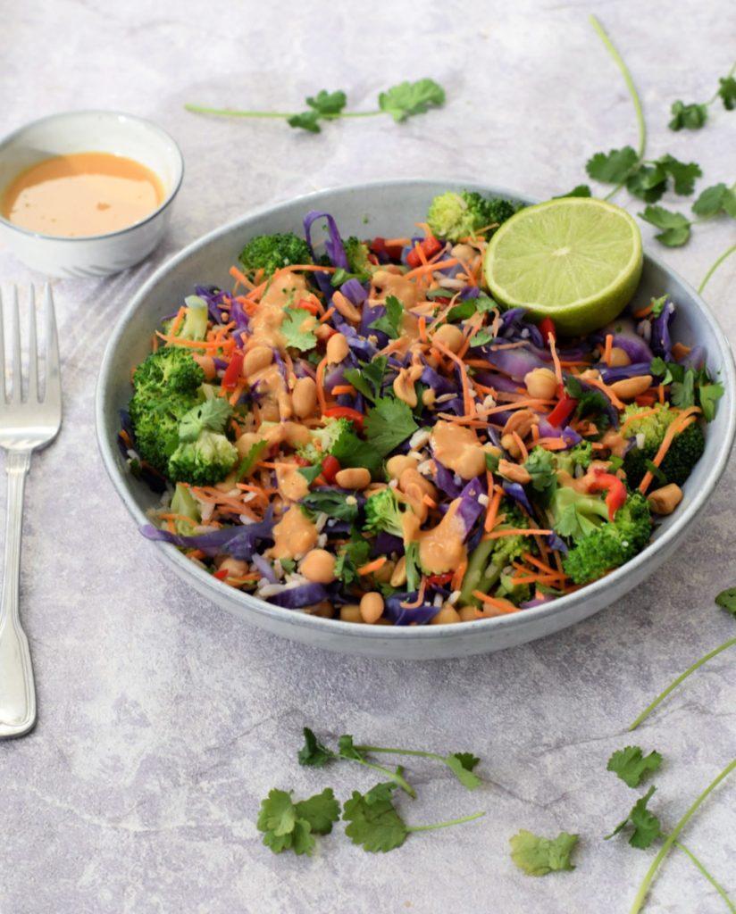 vegan Aziatische rijstsalade